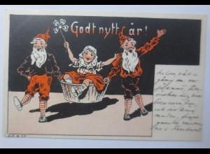 Neujahr, Zwerge, Korb, Kinder, Kleeblatt, 1903 ♥ (65870)