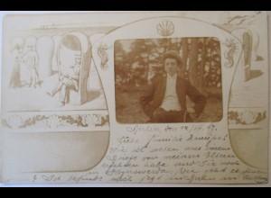 Fotomontage, Fotokunst, Junger Mann, Strand, Fotokarte 1917 aus Berlin