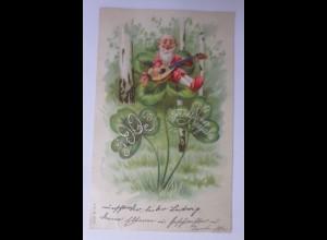 Neujahr, Jahreszahl, Zwerge, Mandoline, Kleeblatt, 1902 ♥ (65871)