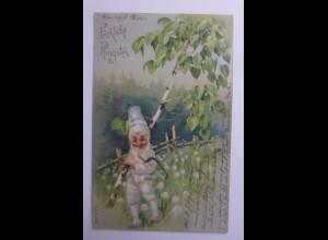 Neujahr, Zwerge, Säge, Birken, 1903 ♥ (65872)