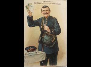 Geburtstag, Männer, Briefträger, Briefe, 1914, Prägekarte ♥ (27337)