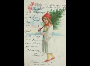 Weihnachten, Kinder, Puppe, Tanne, Spielzeug, 1902 ♥ (11021)