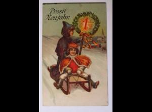 Neujahr, Kinder, Schlitten, Mode, König, 1916, Prägekarte ♥ (36696)