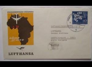 Lufthansa Streckeneröffnung Westafrika Nigeria 1962