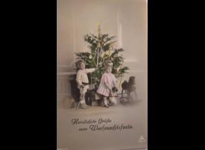 Weihnachten, Kinder, Bescherung, Spielzeug, Schaukelpferd, 1914 ♥ (13283)