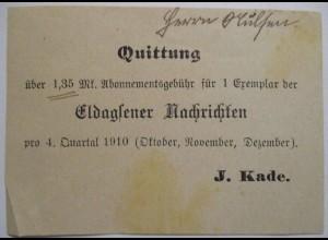 Eldagsen, Quittung Zeitungsgeld 1910 (59815)