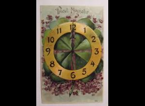 Neujahr, Uhr, Kleeblatt, Blumen, 1906, Prägekarte ♥ (36708)