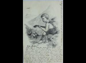 """Winternacht, Engel, Mandoline, Berge"" 1903, Paul Bergmann ♥ (12893)"