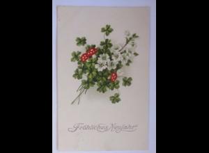 Neujahr, Pilze, Kleeblatt, 1930 ♥ (56199)