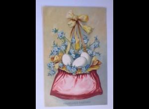 Ostern, Tasche, Ostereier, Blumen, 1909, Prägekarte ♥ (63068)