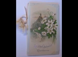Konfirmation, Kirche, Blumen, Engel, 1909, Klappkarte 15,5 cm x 9,5 cm ♥ (51553)