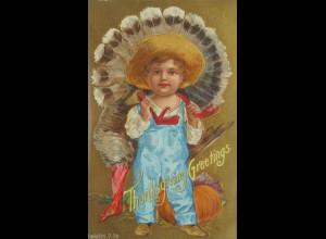 Thangsgiving, Greetings, Truthahn, Kinder, Kürbis, 1909, Prägekarte ♥ (13652)