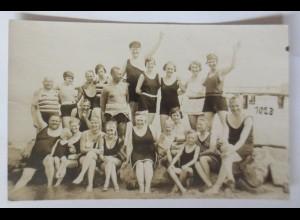 Bademode, Männer, Frauen, Kinder, 1909, Fotokarte ♥
