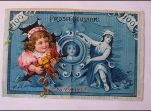 Neujahr, Geldschein, Kinder, Münzen, Leinwand, 1909, Prägekarte ♥ (38163)