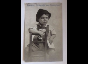 Namenstag, Kinder, Mode, Hut, Brille, Brief, Pfeife, 1919 ♥ (51671)
