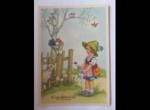 Namenstag, Kinder, Mode, Notenblatt, Singen, Hahn, Lamm, Vogel, 1950 ♥ (51644)