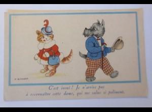 Personifiziert, Katzen, Hund, 1930, M.B. Cooper ♥ (41050)