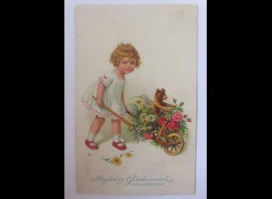 Namenstag, Kinder, Schubkarre, Blumen, Teddy, 1935 ♥ (51639)