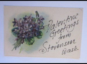 Valentinstag, Blumen, Veilchen, Glitzerkarte 1908, Prägekarte ♥ (45990)