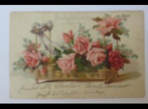 """Namenstag, Blumen,Rosen, Korb"" 1907, Prägekarte ♥ (32978)"