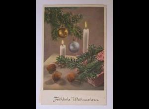 Weihnachten, Kerze, Zweig, Nüsse, 1955 ♥ (39933)