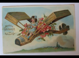 """""""Namenstag, Kinder, Flugzeug, Blumen"""" 1912, Golddruck ♥ (30019)"""