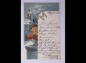 Neujahr, Nachtwächter, Kirche, Brunnen, 1904 ♥ (54900)