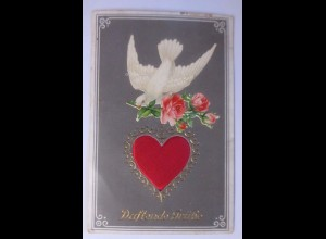 Valentinstag, Duftende Grüße, Taube, Herz, Rose, 1909 ♥ (62057)