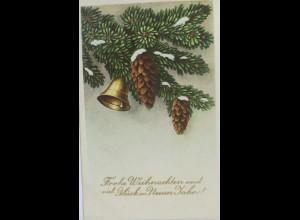 Weihnachten, Glocke, Tannenzapfen, Zweig, 1954 ♥ (10037)