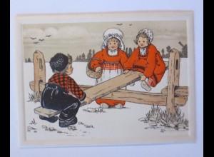 Neujahr, Kinder, Mode, Wippen, 1903, Klappkarte, 10 cm x 7 cm ♥ (51542)