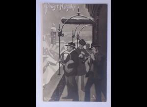Neujahr, Männer, Posaunenchor, Kirchturm, 1908, W. Hinze ♥ (7953)