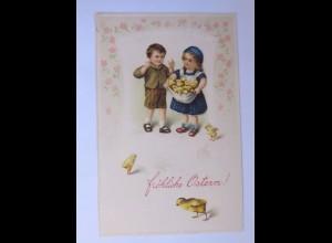 Ostern, Kinder, Mode, Küken, 1916, Prägekarte ♥ (63077)