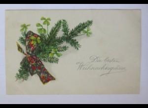 Weihnachten, Tannenzweig, Kleeblatt, Schleife, 1930 ♥ (50380)