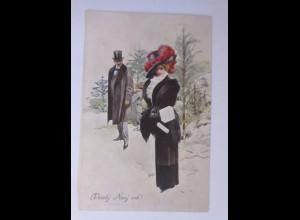 Neujahr, Frauen, Männer, Mode, Hutmode, Muff, 1905 ♥ (50881)