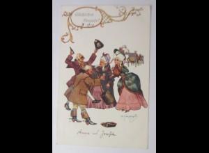 Neujahr, Frauen, Männer, Barock, 1909 ♥ (49754)