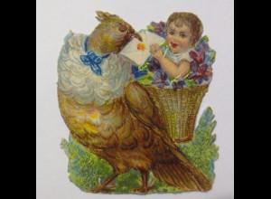 Oblaten, Vogel, Kinder, Korb, Brief, Blumen, 1900, 5 cm x 4 cm ♥ (45970)