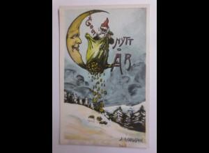 Neujahr, Zwerge, Mond, Münzen, 1910, J.A. Carisson ♥ (65875)