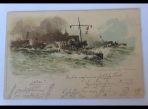 Torpedodivision unter Volldampf, Marinepostkarte M&B 1898 ♥