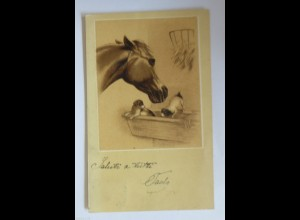 """Pferde, Hund"" 1900 ♥ (29243)"