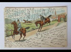 """""""Pferde, Lied, Es ritten drei Reiter zum Tore hinaus ade"""" 1902 ♥ (32891)"""