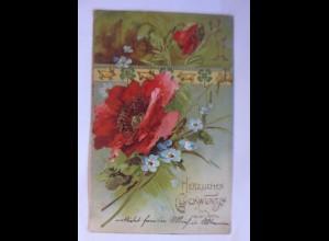 """""""Neujahr, Blumen, Mohnblumen, Schwein, Kleeblatt"""" 1904, Prägekarte ♥ (48402)"""