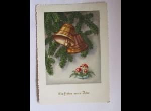Neujahr, Glocke, Tannenzweig, Pilze, 1955 ♥