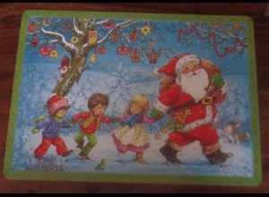Adventskalender, Weihnachtsmann, Kinder, Musizieren, aus Pappe ♥ 1960-1970