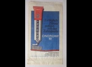 Werbung, Reklame, Kaufladen Tütchen, Ondrony 61 Zahnpasta Zähne ♥ (69616)