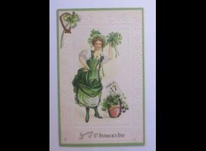St. Patrick´s Day, Frauen, Kleeblatt, Kalender, 1909, Prägekarte ♥ (43761)