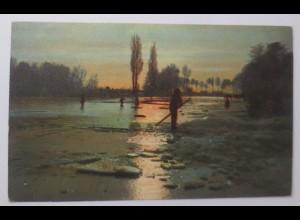 Künstlerkarte, Landschaft, Männer, Fluss, 1908 ♥ (69630)
