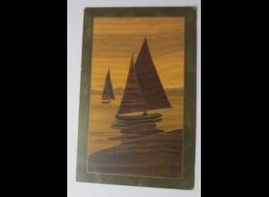 Intarsial Karte, Meer, Segelboote, 1906 ♥ (69631)
