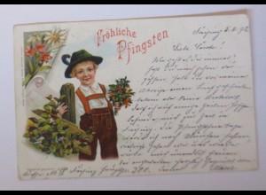 Pfingsten, Kinder, Trachten, Blumen, 1898 ♥ (51627)