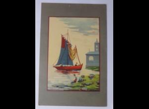 Halt gegen das Licht, Kirche, Boot, See, Angler, 1900 ♥ (69634)