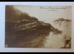 Modernes Hochseetorpedoboot im Orkan Kiel, 1915, Feldpost ♥